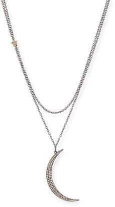 Siena Jewelry Diamond Crescent Moon & Star Pendant Necklace