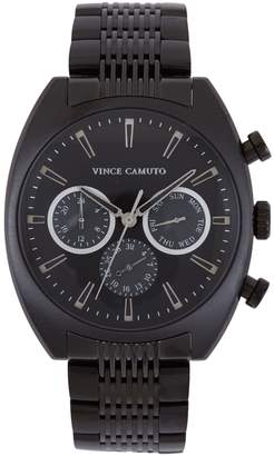 Black Triple-subdial Textured-link Watch