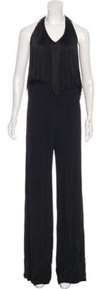 Alexis Wide-Leg Fringe Jumpsuit w/ Tags Black Wide-Leg Fringe Jumpsuit w/ Tags