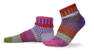 Solmate Socks Mismatched Ankle Socks for Women or For Men, Made in USA with Recycled Cotton Yarns; Medium