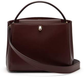 Valextra Brera Medium Leather Bag - Womens - Burgundy Multi