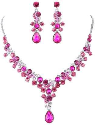 Glamorous FAYBOX Crystal Rhinestone Beading Necklace Earrings Wedding Jewelry Sets Fuschia