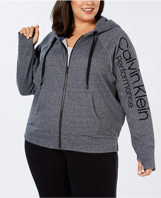 Calvin Klein Plus Size Relaxed Fleece Zip Hoodie