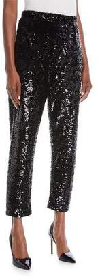 Joan Vass Plus Size Sequined Slim Ankle Pants