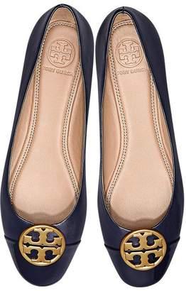 Tory Burch Black Nappa & Patent Leather Chelsea Cap-toe Ballet Flats