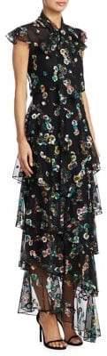 ML Monique Lhuillier Tiered Floral Asymmetrical Dress