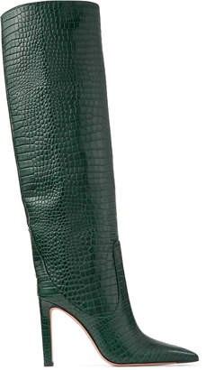 Jimmy Choo MAVIS 100 Dark Green Croc Embossed Leather Knee High Boots