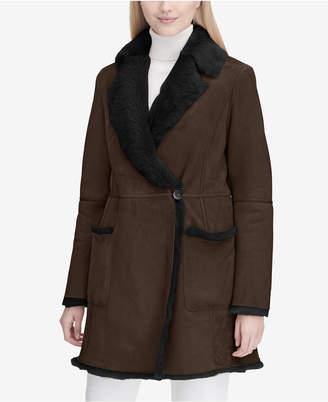 Calvin Klein Wrap-Front Shearling Coat