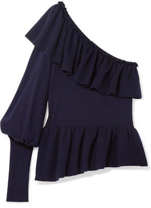 Ulla Johnson Eden Ruffled One-shoulder Cotton And Cashmere-blend Sweater - Midnight blue