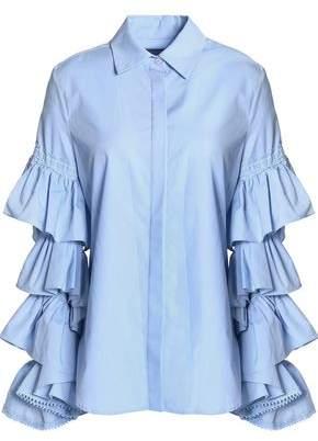 Preen by Thornton Bregazzi Ophelia Ruffled Cotton-Poplin Shirt