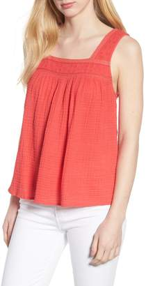 Caslon Embroidered Neck Swing Tank (Regular & Petite)