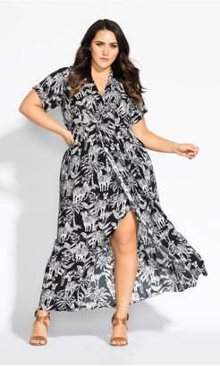 City Chic Citychic Bahati Short Sleeve Maxi Dress - black