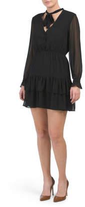 Juniors Tie Neck Ruffle Dress
