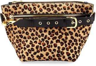 Sacai Trapezoid Pouch Leopard Cow Hair Shoulder Bag