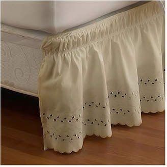 One Allium Way Ettore Wrap Around Eyelet Ruffled Bed Skirt
