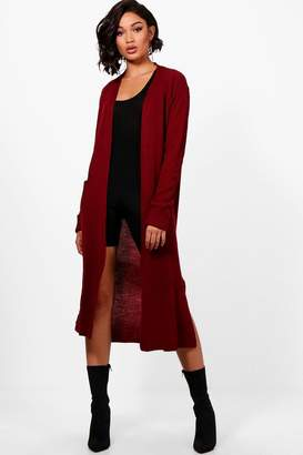 boohoo Turn Up Cuff Maxi Cardigan