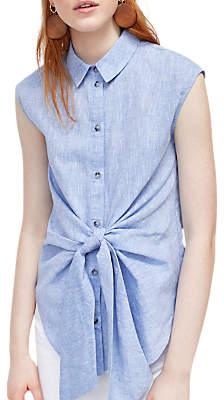 Warehouse Chambray Tie Shirt, Light Blue