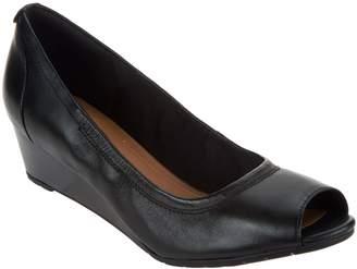 Clarks Artisan Leather Peep-toe Wedges - Vendra Daisy