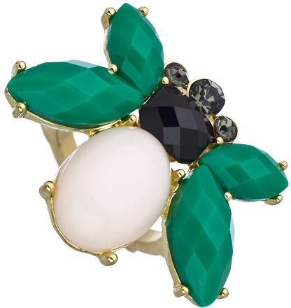 Blu Bijoux Green White Bumble Bee Ring