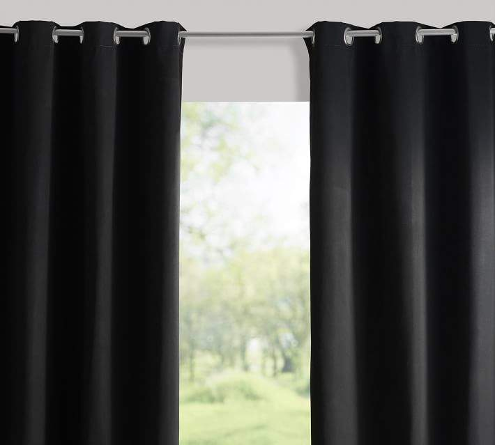 Sunbrella®; Solid Indoor/Outdoor Grommet Drape - Black