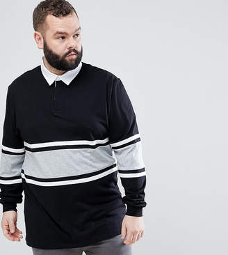 Asos PLUS Relaxed Long Sleeve Rugby Polo Shirt With Contrast Panelling In Black