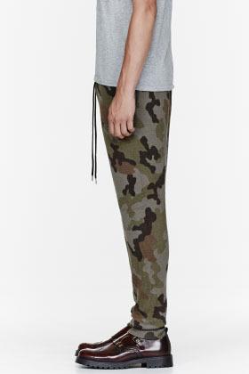 Markus Lupfer Olive camouflage merino wool lounge pants