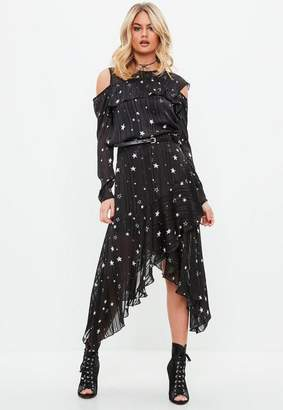 Missguided Black Star Print Asymmetric Hem Midi Skirt