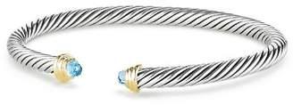 David Yurman Cable Kids Birthstone Bracelet with Blue Topaz & 14K Gold