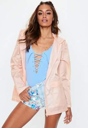 Missguided Pink Plain A Pac A Mac Jacket