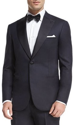 Brioni Satin Peak-Lapel Tuxedo, Navy $7,025 thestylecure.com