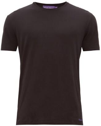 Ralph Lauren Purple Label Logo Embroidered Pima Cotton Lisle T Shirt - Mens - Black