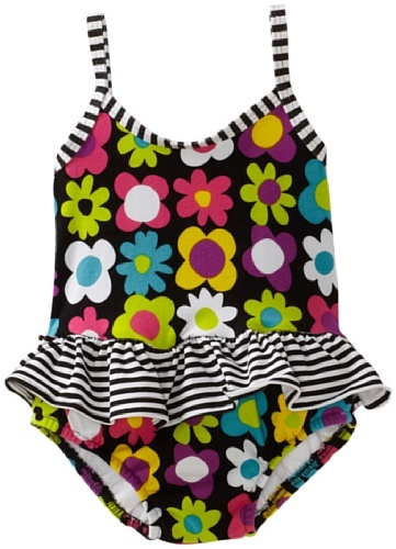 Flap Happy Baby-girls Infant Contrast Maillot Suit With Diaper