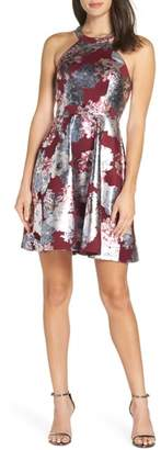 Sequin Hearts Foiled Floral Fit & Flare Dress