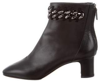 Valentino Leather Chain-Link Ankle Boots