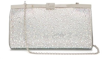 Christian Louboutin Palmette Crystal Embellished Suede Clutch - Womens - Silver