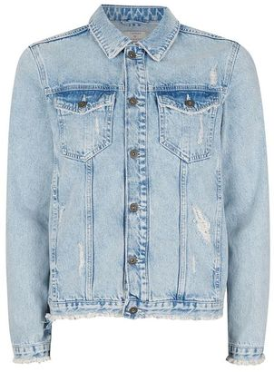 Blue Distressed Denim Jacket $100 thestylecure.com