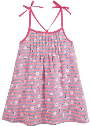 G-Cutee Newborn Baby Girls' Neon Pink Floral Dress with Shoulder Ties