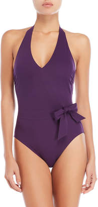 Gottex Aubergine Bow Halter One-Piece Swimsuit