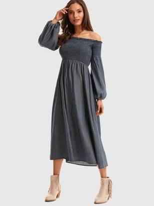 63f95c1d26e2 Bardot SheinShein Bishop Sleeve Shirred Dress