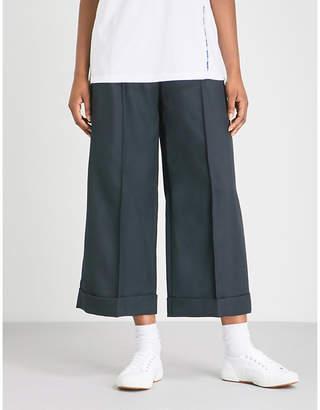 Sjyp Wide-leg woven-twill trousers