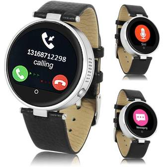 Indigi (Silver) H365 HD Touch Screen Bluetooth-Sync SmartWatch & Phone w/ Heart Rate Sensor + SIRI for iOS & Android
