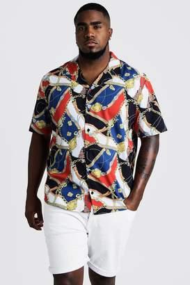 boohoo Big & Tall Chain Print Revere Collar Shirt