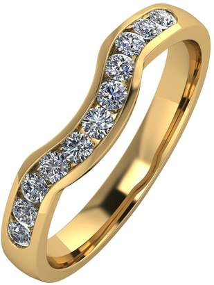 Moissanite 9ct Gold 33pt Channel Set Shaped Wedding Ring