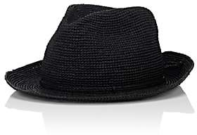 Kaminski Men's Rollable Raffia Fedora-Black Size M
