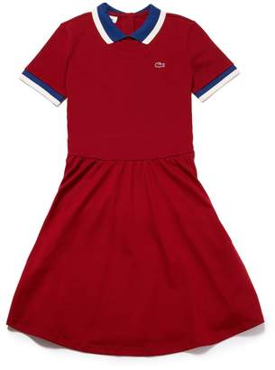 Lacoste Women's Contrast Finishes Flared Stretch Mini Pique Polo Dress