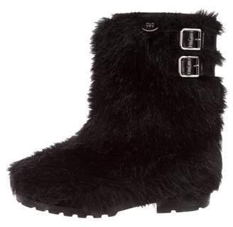 Chanel Faux Fur Mid-Calf Boots