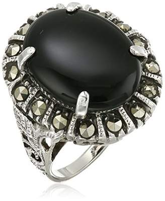 Sterling Silver Oval Marcasite with Agate Center Stone Ring