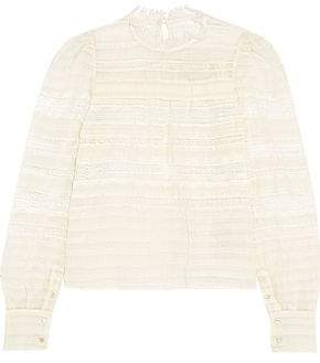 Isabel Marant Ronny Lace-Paneled Silk And Linen-Blend Top