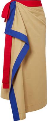 Ruffled Cotton-twill Wrap Skirt - Mushroom