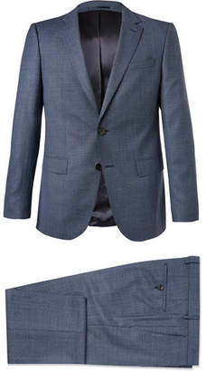 HUGO BOSS Blue Novan/Ben Slim-Fit Melange Super 120s Virgin Wool Suit - Men - Blue
